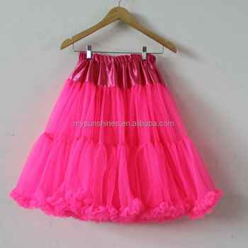 75c8d05623 Wholesale High Quality Women Petticoat New Design Neon Pink Chiffon Tulle Tutu  Skirt For Adult