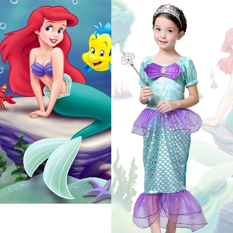 2016 The Little Mermaid Costume Girls Ariel font b Fancy b font Princess Cosplay font b