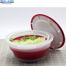 Wheel Straw Drain Basket Bowl Food Wash Collapsible salad spinner