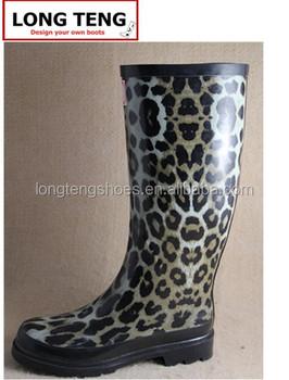 dc8cf27bcee2 Leopard Printed Rain Boots Women Rubber Wellington Boots - Buy ...