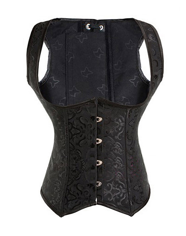 91d22e135f0 Get Quotations · Sexy Lingerie Sexy Women s Corset Bustier Underbust Corset  Black Brocade Underbust Vest Corset