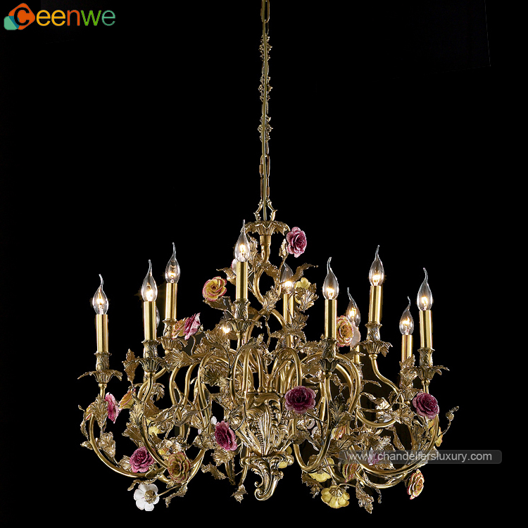 High quality 12 Lights Ceramic brass chandeliers polished brass chandeliers california red Finish