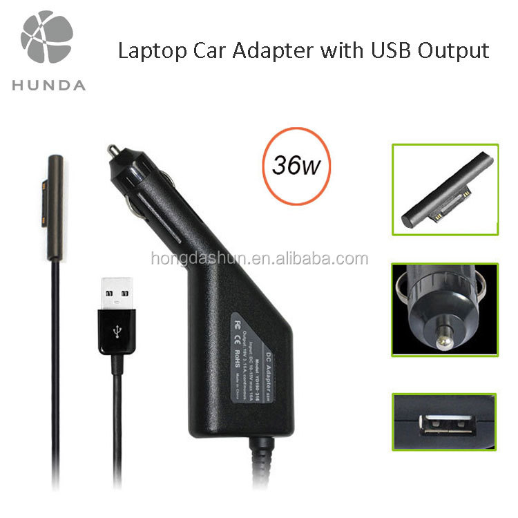 In-car 12v 3a usb power adapter 36w for microsoft pro 3 tablet