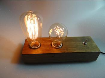 Loft vintage lampada da tavolo in legno lampade da comodino camera