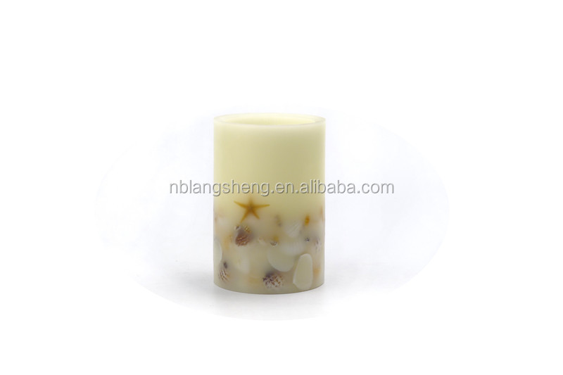 LED candle with seashell embeded