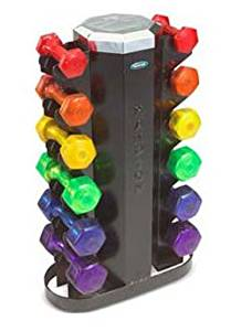 Hampton Jelly-Bell Urethane Dumbbell Set with Rack