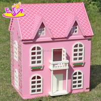 Best design pink house toys wooden dollhouse for girls W06A020