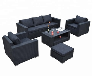 5PC Cebu Detachable Modern Outdoor Wicker Patio Rattan Furniture and Garden Deep Seats Group Sofa Set with one Ottoman
