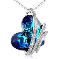 925 Sterling Silver Blue Crystal Heart Necklace Love Necklace For Women