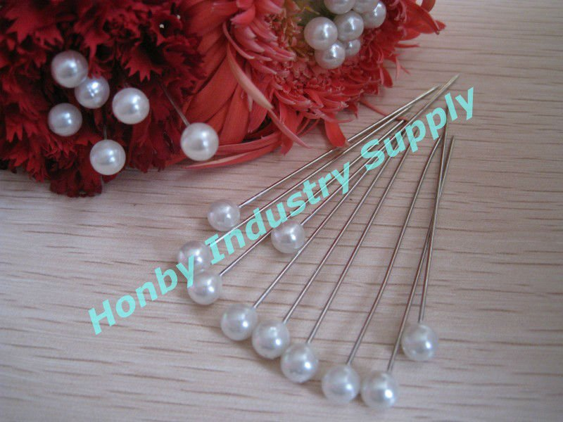 60mm Long Milky Pearl Round Corsage Pin for Lapel