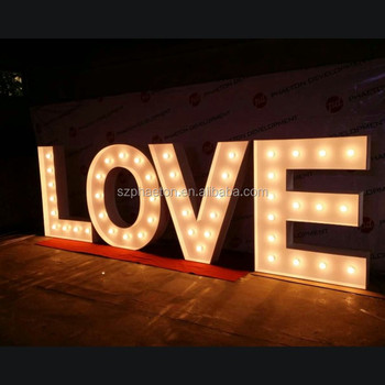 Hot sale high quality light up led bulb light love letters