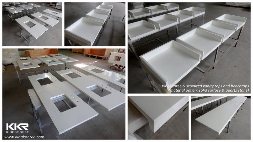 China Manufacturer Solid Surface L Shaped Bathroom Vanity
