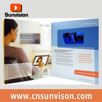 Custom Design Lcd Touch Screen Video Brochure Business Invitation