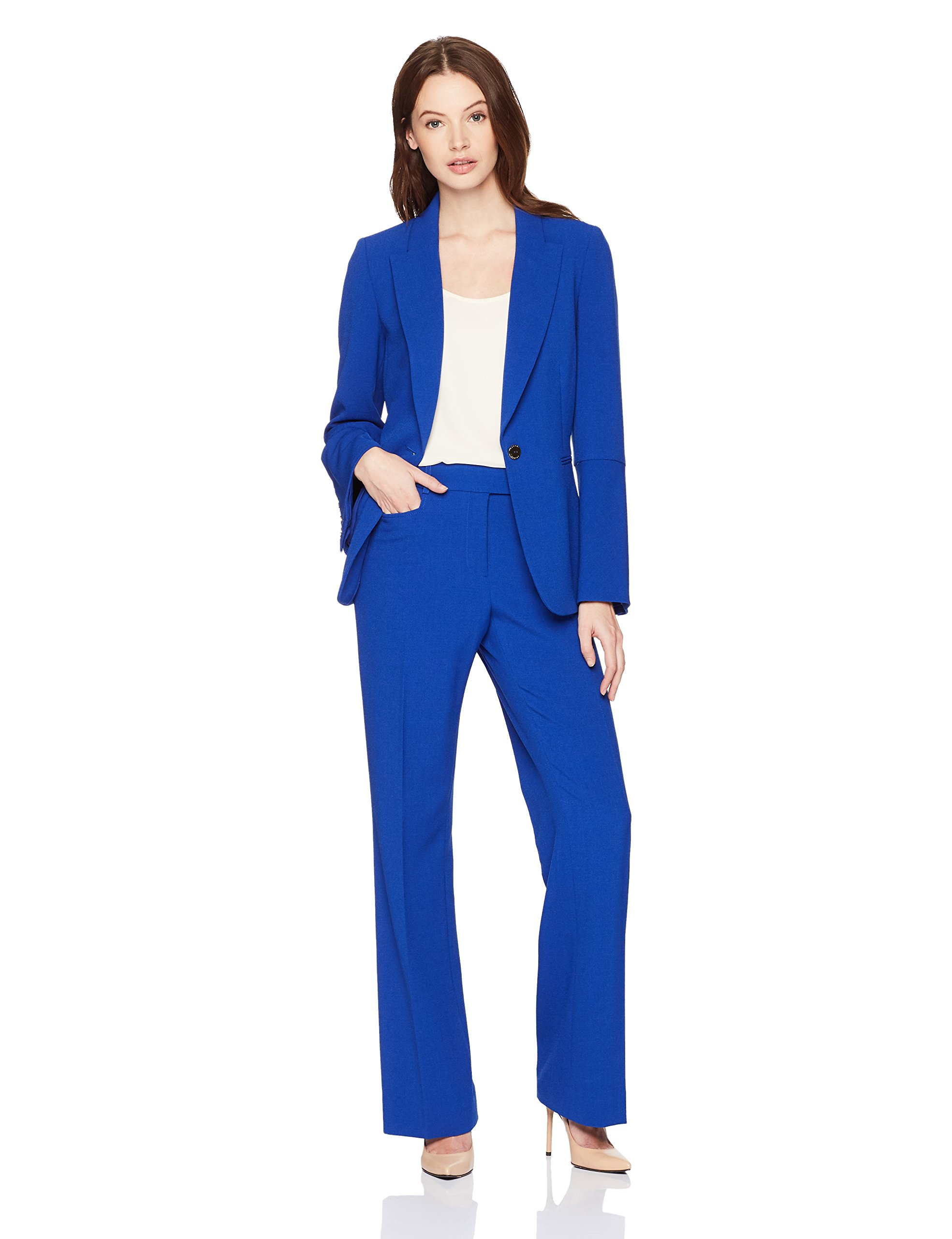 235dc8aa13a08 Get Quotations · Tahari by Arthur S. Levine Women's Pebble Crepe Flare  Sleeve Pant Suit