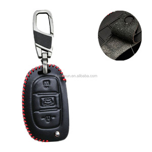 Genuine car keychain ring cover case holder For Hyundai i30 ix35 HB20 2016 2017 Avante Porter Santafe leather key holder