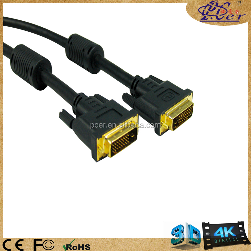 Gold Dvi Dual Cable M to m 24+1 with 2 Ferrite Core