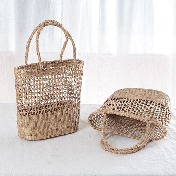 Women Lightweight Handmade Straw Rattan Tote Bag For Shopping And Travel