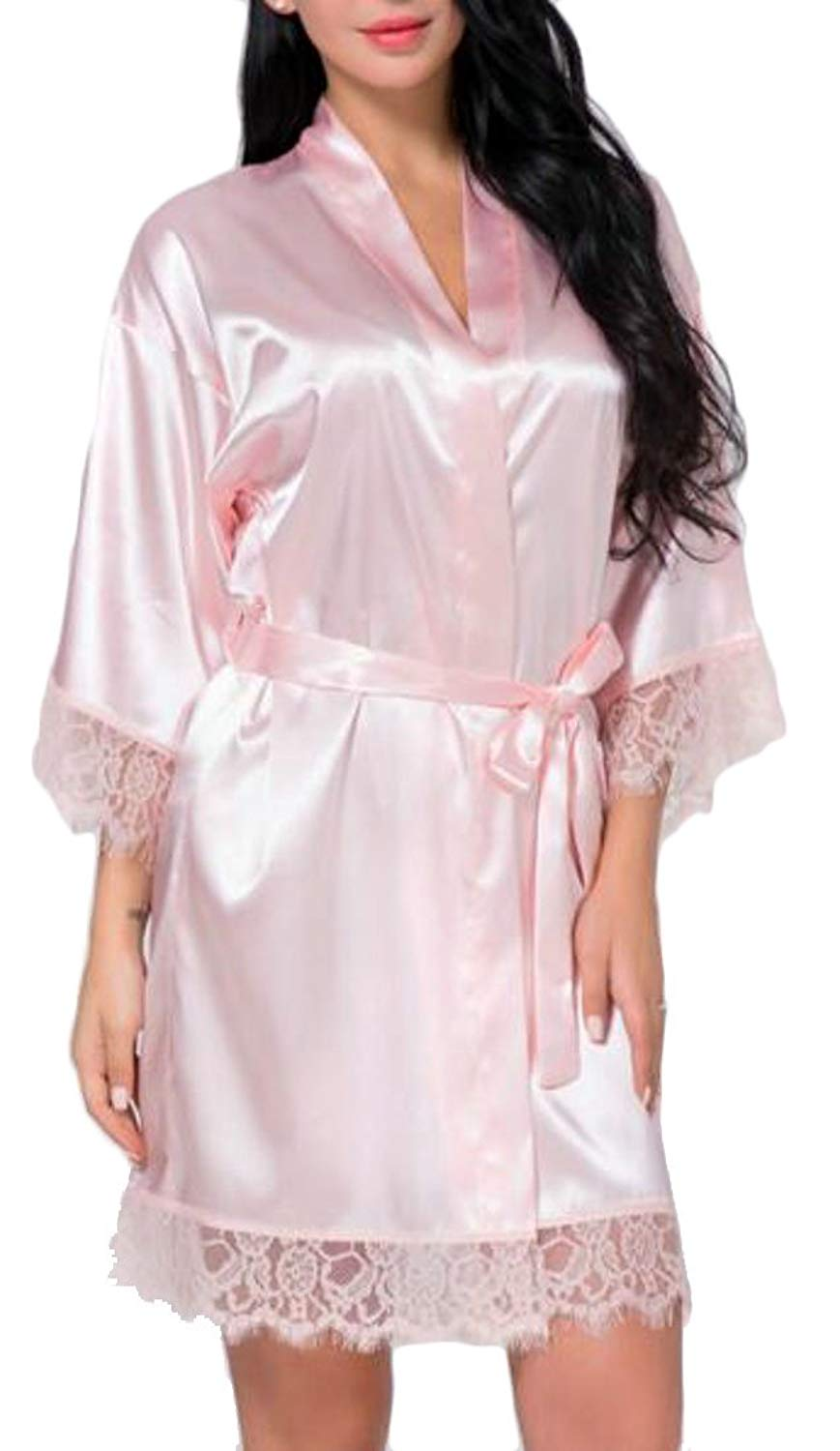 Get Quotations · Cromoncent Womens Faux Silk Lace Stitching Sleepwear Sexy  Robe Bathrobe Kimono Robes Pink XL aabf06e71