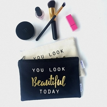 glitter gold letter black / white makeup small pouch bag canvas customize contents cosmetic bag
