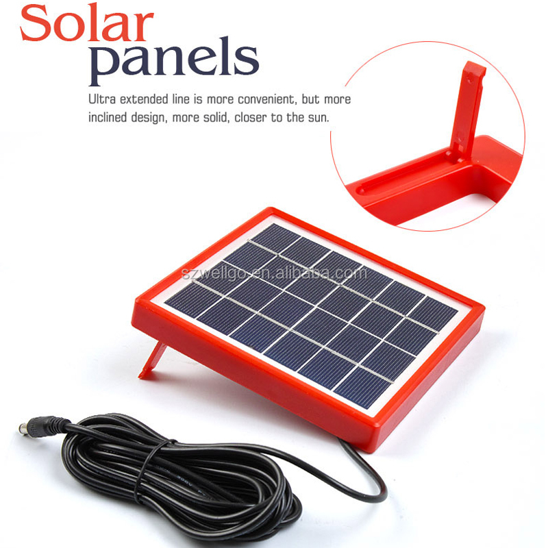 Portable Mini solar powered Home lighting system with USB Interface