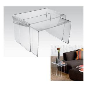 Home 3 pieces Clear Transparent Nesting Acrylic Table Set