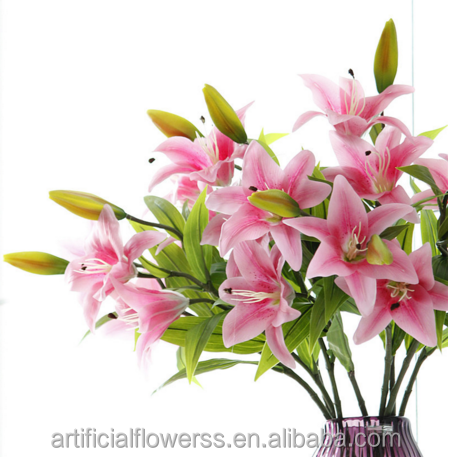 high quality real touch silicon artificial single stem 2heads1bud tiger lily flowers