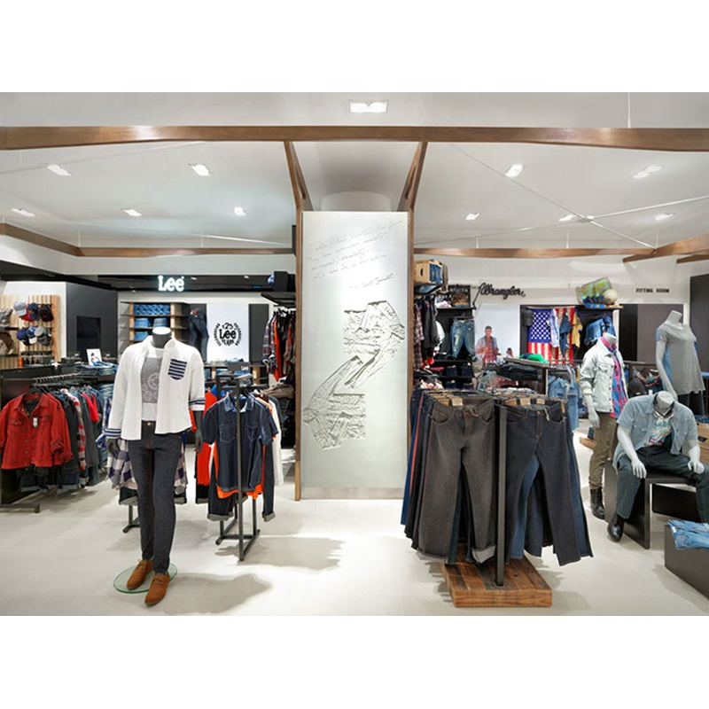 High-quality customized stainless steel men's clothes retail shop fitting