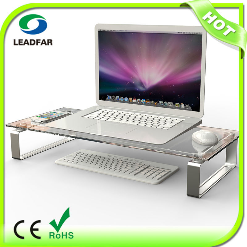 DSG01 Tempered glass Metal Legs LCD Monitor Stand Riser With Desktop Keyboard Storage