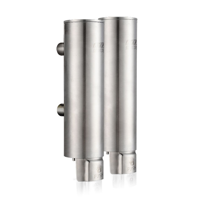 5 star hotel cylinder shape double or single 304 stainless steel refillable liquid soap shampoo conditioner dispenser