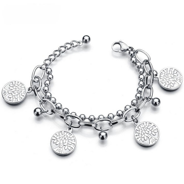 dc3943f80cf9 Colgante personalizado logotipo personalizado accesorios encanto pulsera de  luz de plata de moda pulsera de acero
