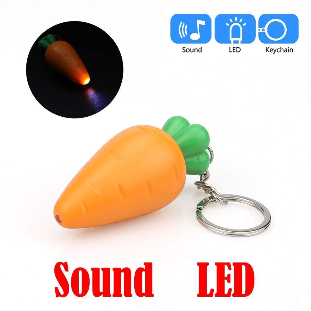 Carrot Sound Small Toy Keychain YSK4, Carrot Shape Cartoon Keychain with LED Light Sound Keyfob Kids Toy Gift