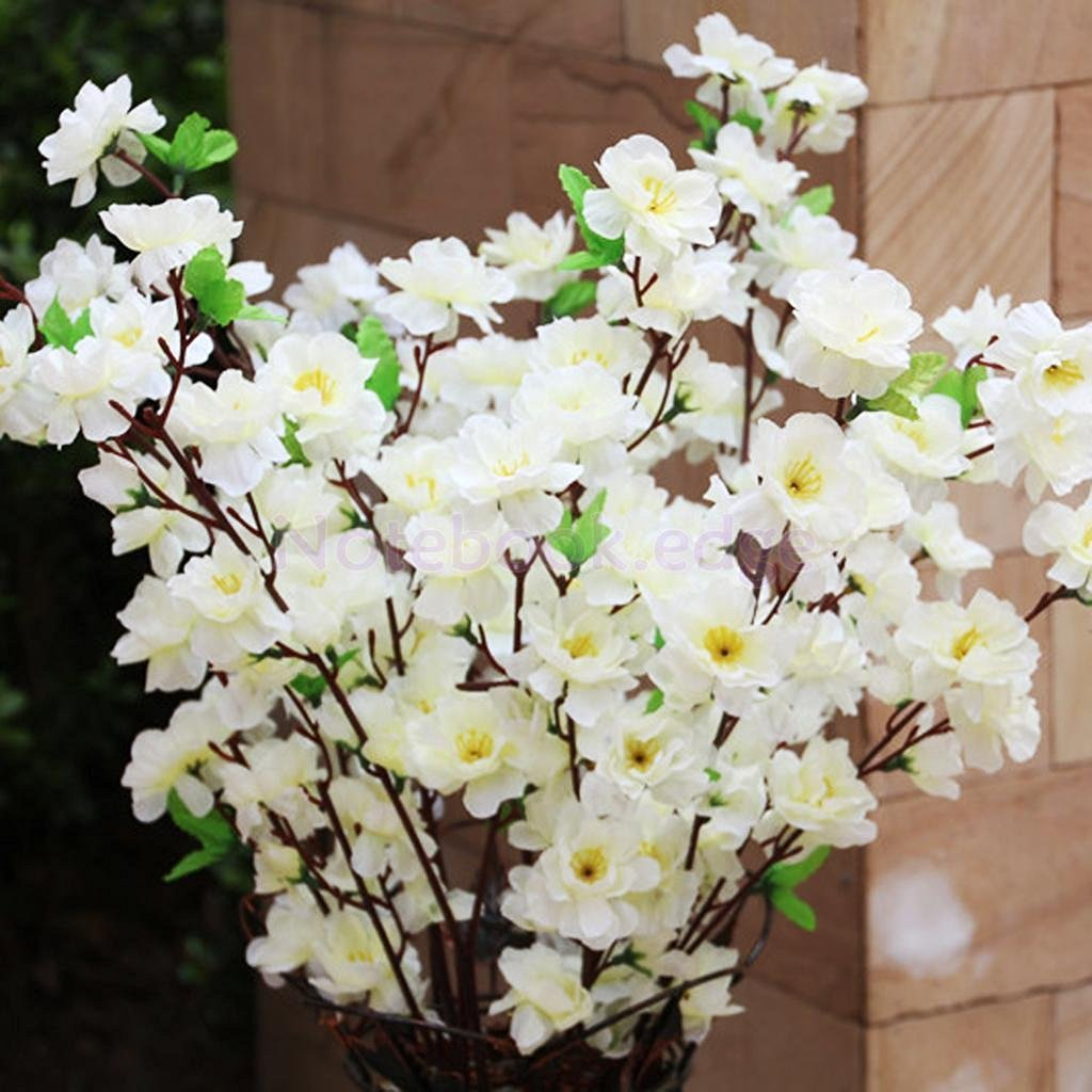 """10pcs Artificial 26"""" Spring Peach Blossom Cherry Plum Silk Flowers Sterm Decor"""