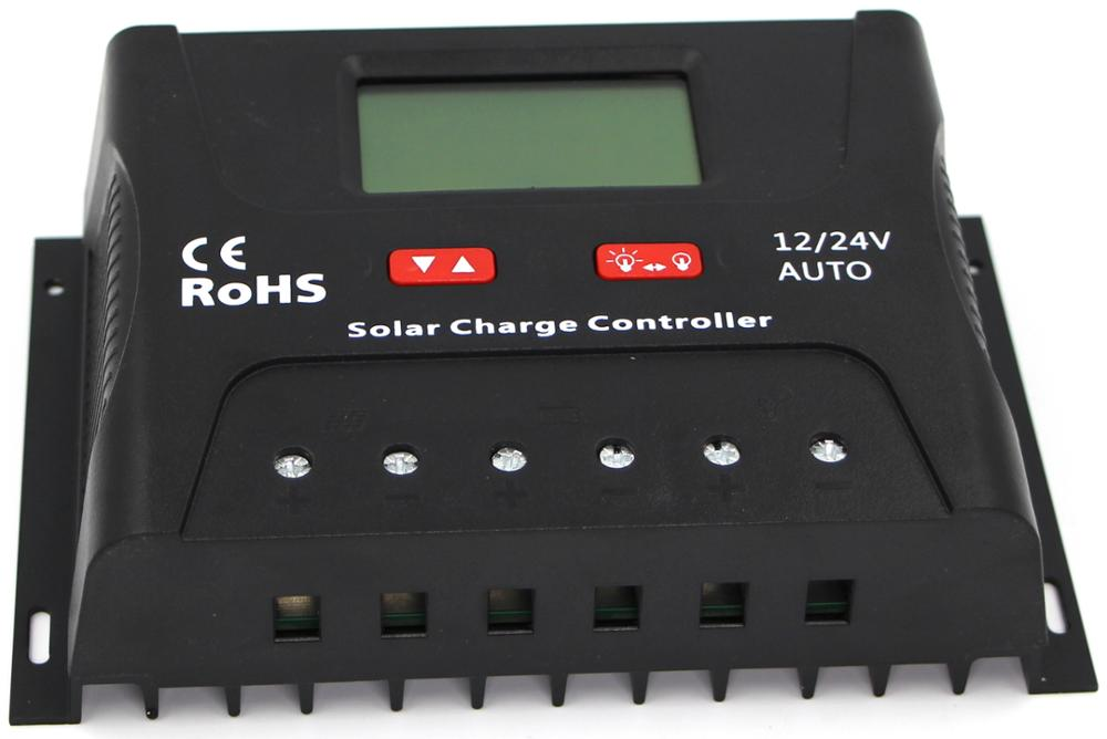 12V 24V auto 50A high efficiency LCD display PWM Solar charger controller
