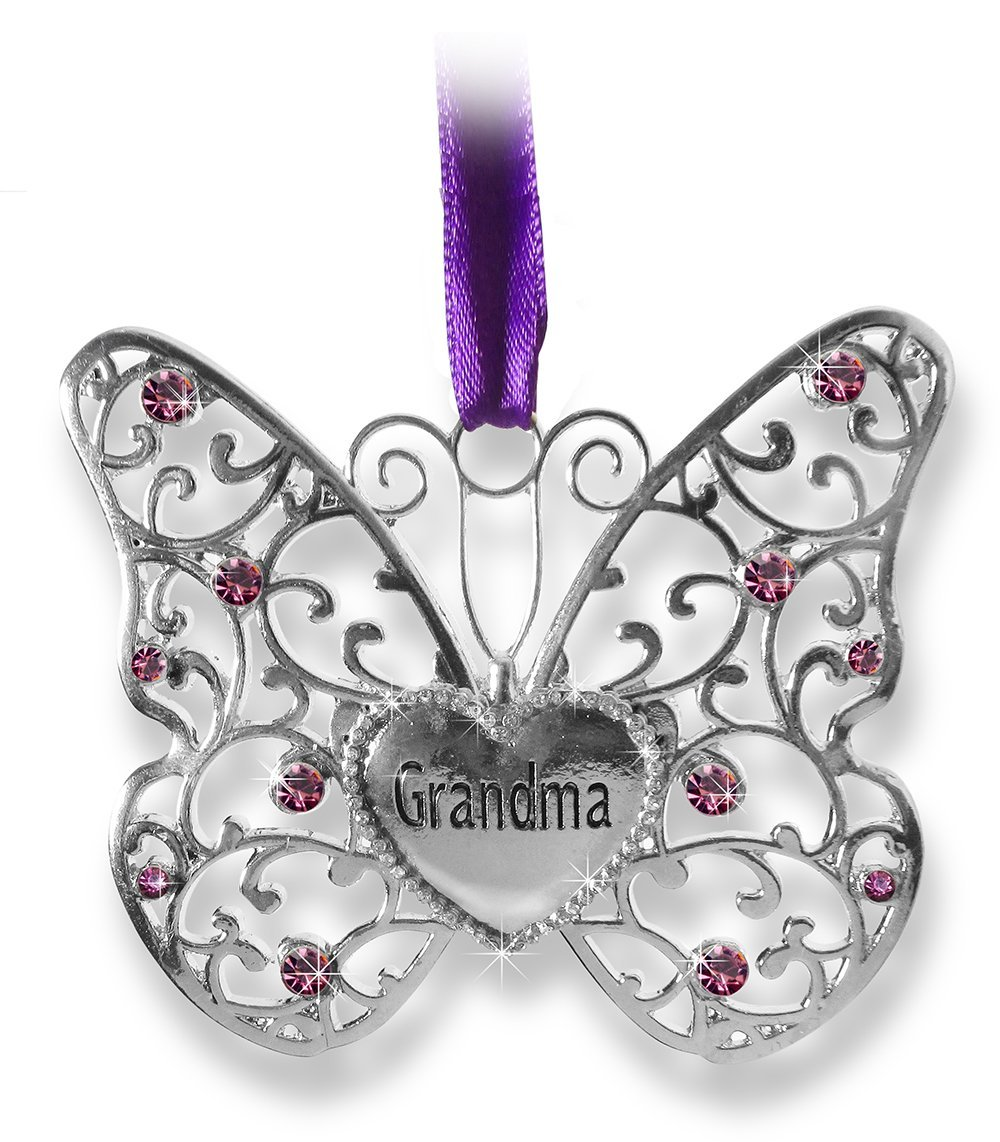 """Butterfly Ornament - Grandma Butterfly - Silver Metal Filigree Butterfly with Jewels Heart Shaped Charm Engraved with Grandma - Gifts for Grandma - Grandma Christmas Ornament - 3""""W x 2.75""""H"""