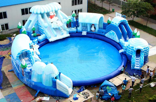 Factory make Inflatable water slide, inflatable frozen world water slide for the water park