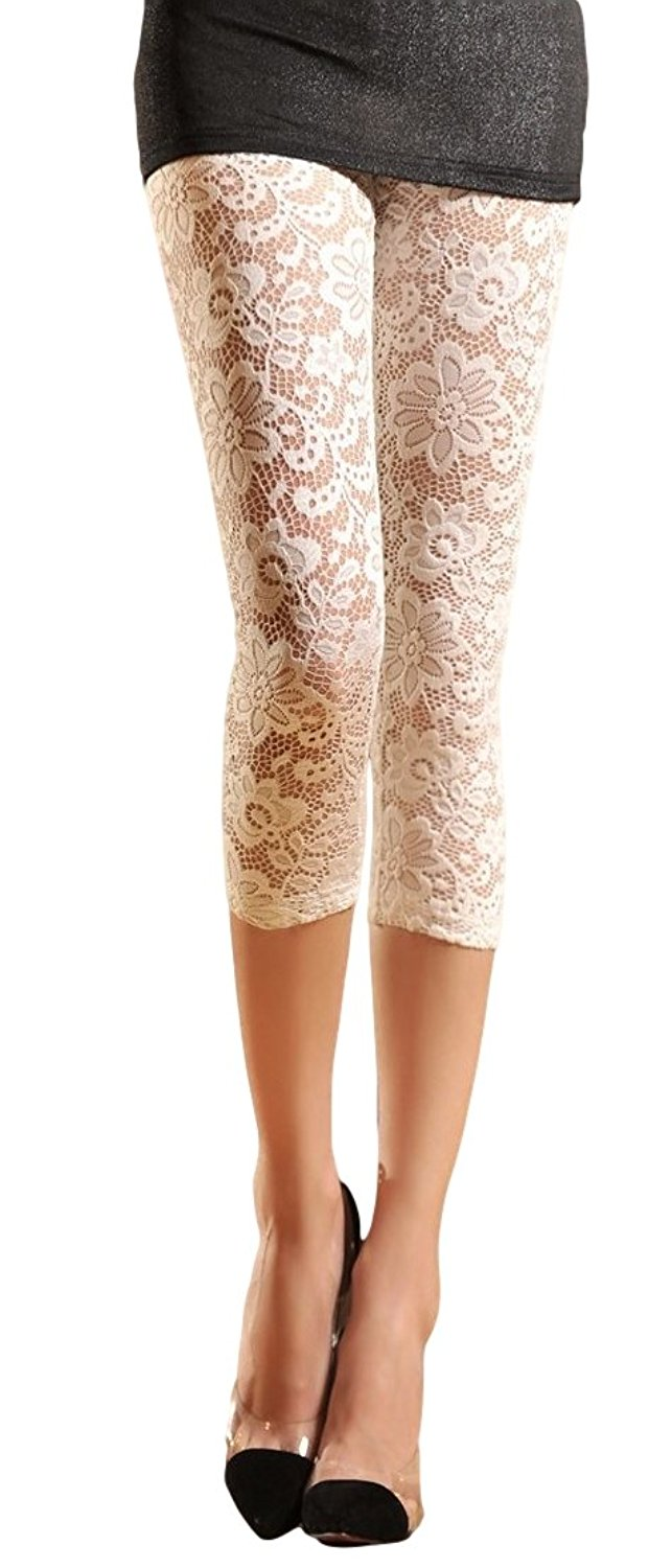 0f302ddb0d8eeb Get Quotations · Womens Stretchy Floral Lace Capri Leggings Tights (US:  6/8, White)