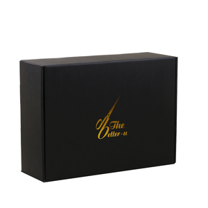 4 layer double side printing creative corrugated paper e flute scarf apparel packaging black carton boxes with lid customized
