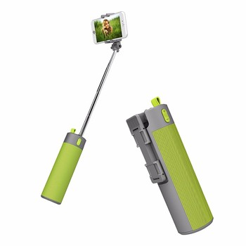 new products monopod selfie stick 2000mah power bank bluetooth speaker outdoor speaker with Carabiner