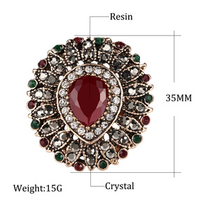 2017 New Arrival Vintage Women Rings Antique red Water Drop Acrylic Lily Flower Ring Brand Turkish Jewelry Anel