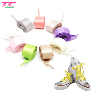 Morecredit 100cm Stock Glossy Fantastic Satin Shoe Laces 2cm Luxury Silk Ribbon Shoelaces For Sale