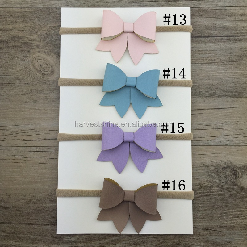 22 colors leather bowknot headbands,nylon stretch headbands,soft headbands for baby girls