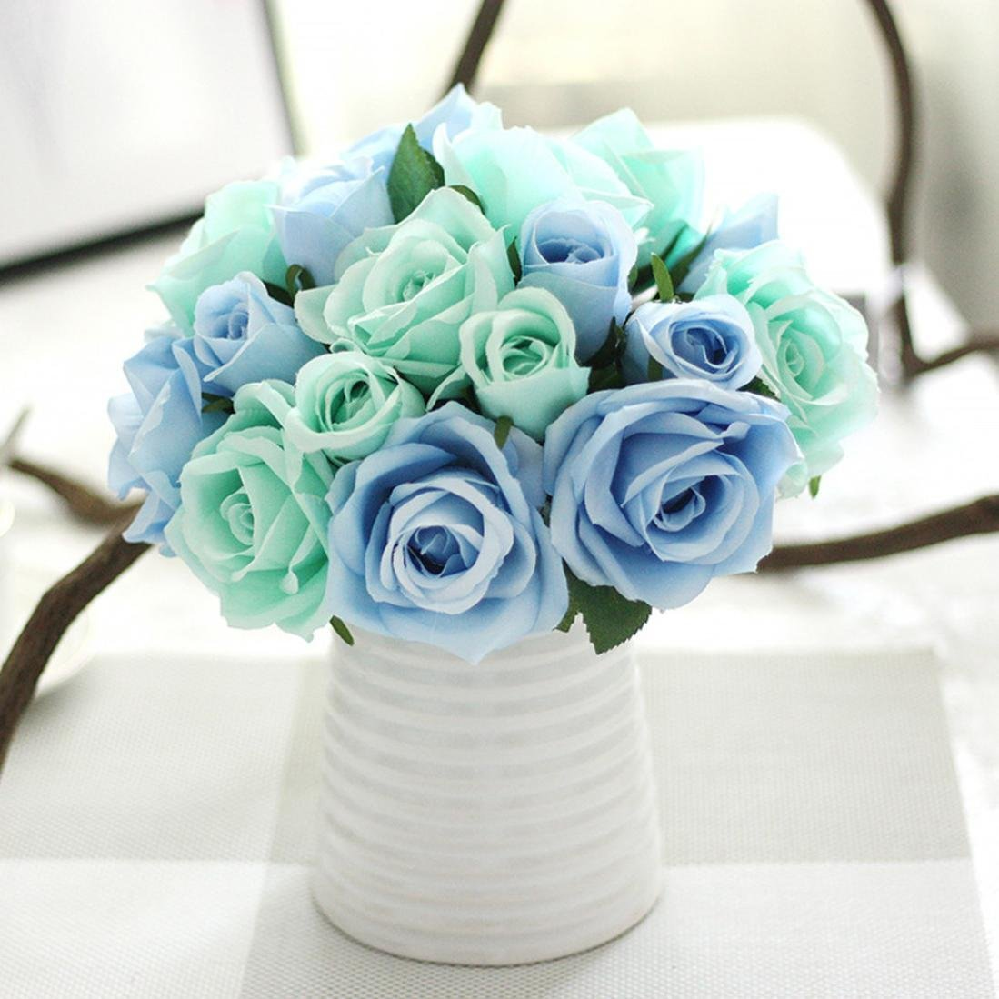 Cheap bouquet blue flowers find bouquet blue flowers deals on line get quotations amatm 9 heads artificial rose silk flowers leaf bridal wedding party bouquet home izmirmasajfo
