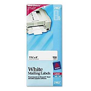 "Avery - 4 Pack - Laser/Inkjet Mailing Labels Mini-Sheet Mini-Sheet 1-1/3 X 4 White 150/Pack ""Product Category: Labels Indexes & Stamps/Labels & Stickers"""