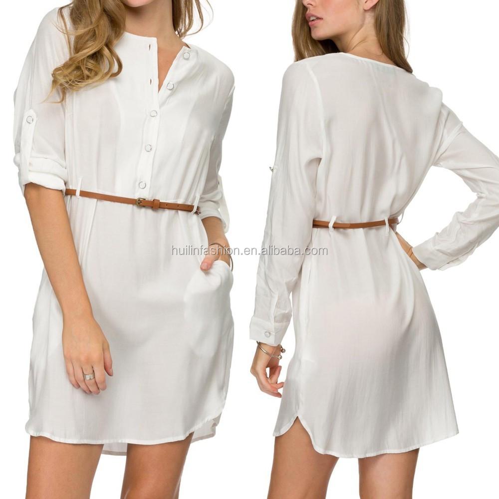 Womens Long Sleeve Belt Shirt Dress Casual Dress 2015 Fashion White Midi Dress Buy Dress Shirtcasual Dressmidi Dress Product On Alibaba