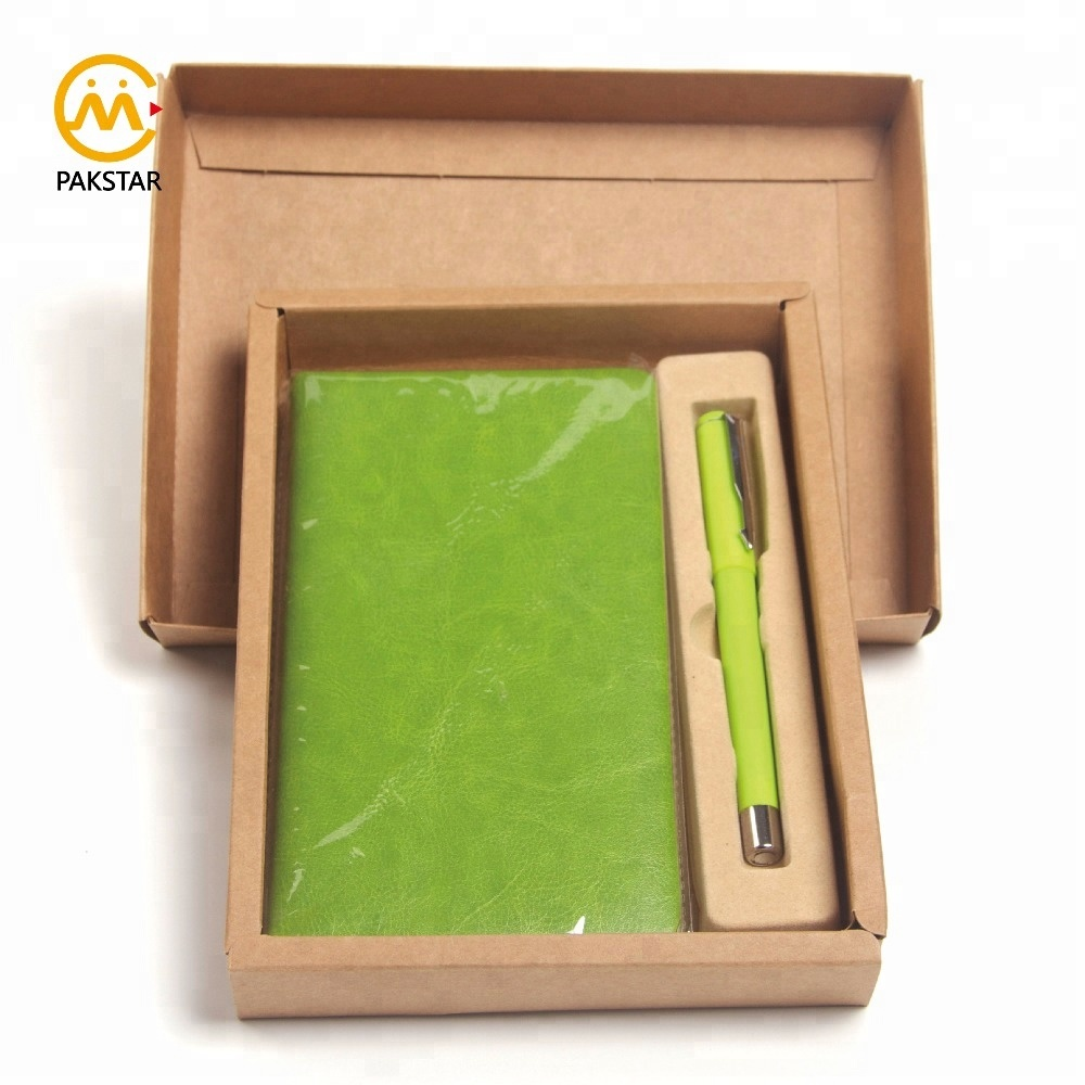 Good quality custom color PU leather pocket business notebook diary and pen gift set