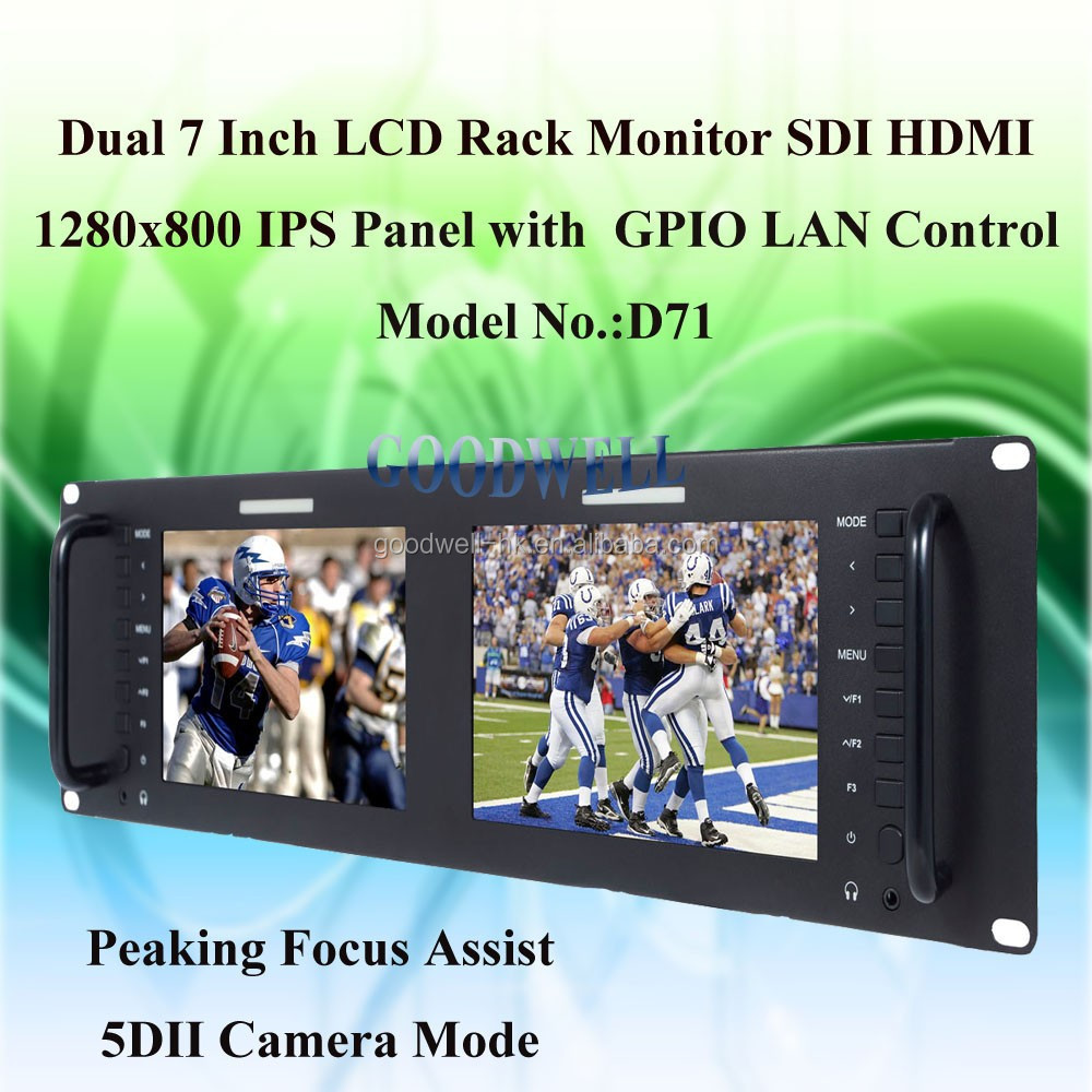 Factory Direct Supply 3RU Dual Rack Mount 7 Inch 3G-SDI Monitor Wide View Angle IPS Panel D71