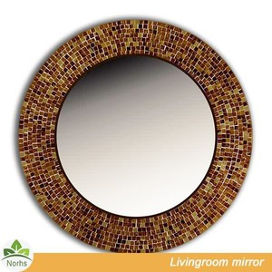 Norhs antique circle indian red mixed brown art mosaic wall mirror for the bathroom and living room decorative