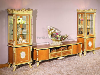 Luxury French Baroque Style Living Room TV Stand/Retro Wood Carving  Porcelain Decorative TV Stand