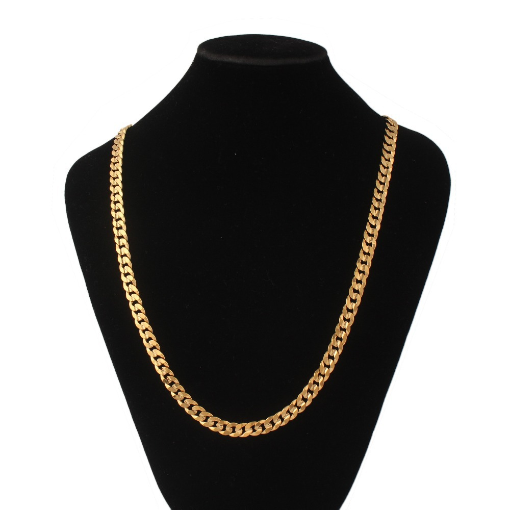 91391f60384422 Get Quotations · Hot sale 18K Real Gold Plated figaro necklace Mens Jewelry  7MM Necklaces for women & men