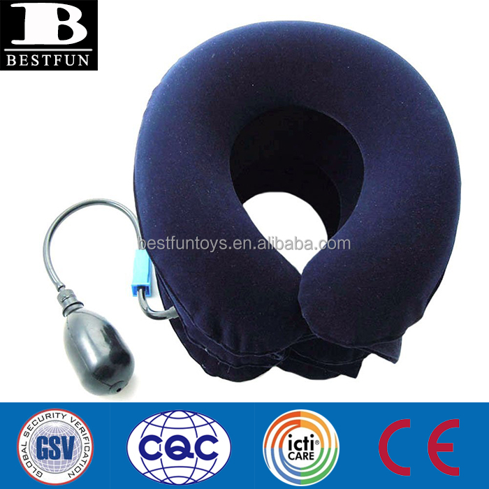 high quality safety neck support brace medical flocked PVC inflatable neck brace collar folding air cervical traction device